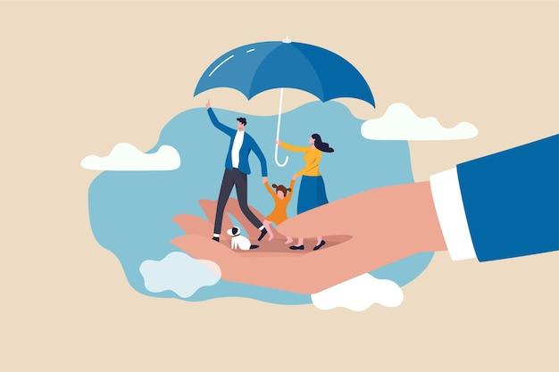 Seguro de vida, proteção familiar para garantir que os membros terão suporte financeiro e conceito de cobertura de risco