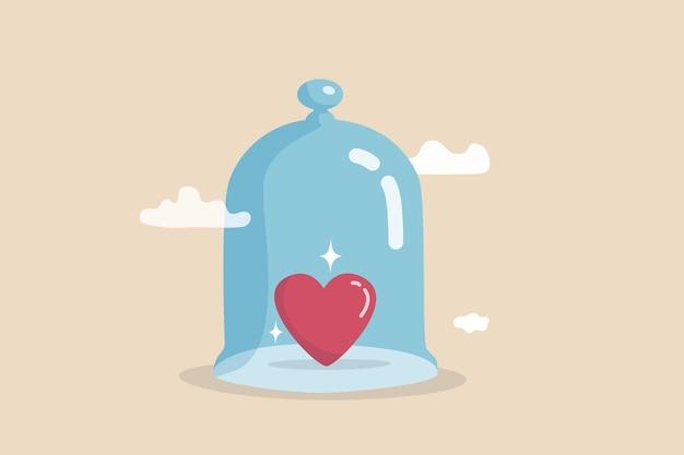 Seguro de vida, proteção familiar, proteção e segurança cobrem seu amor um, protege contra doenças, conceito de saúde ou doença, formato de coração brilhante coberto por uma cúpula de vidro forte.