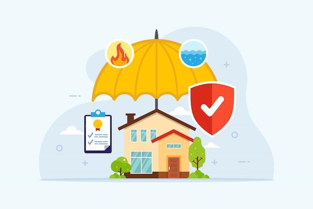 Seguro residencial com proteção de guarda-chuva