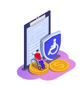 Seguro social desemprego família beneficia composição isométrica com pessoa com deficiência em contrato de papel para cadeira de rodas e ilustração de escudo
