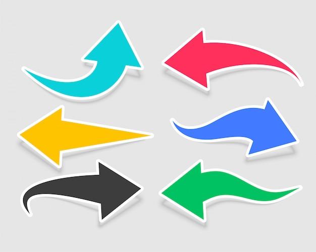 Seis adesivos de flechas em cores diferentes