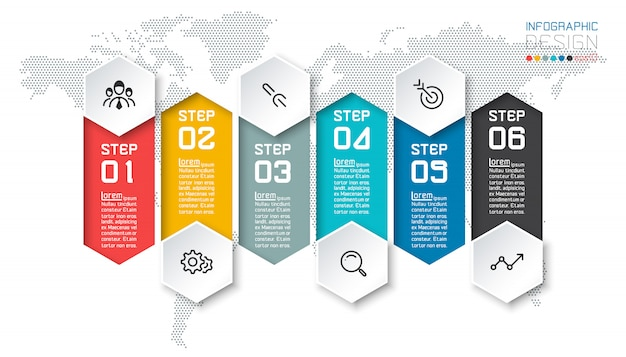 Seis bares coloridos com infográficos de ícone de negócios