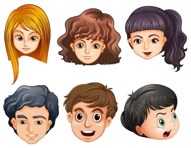Seis cabeças de pessoas