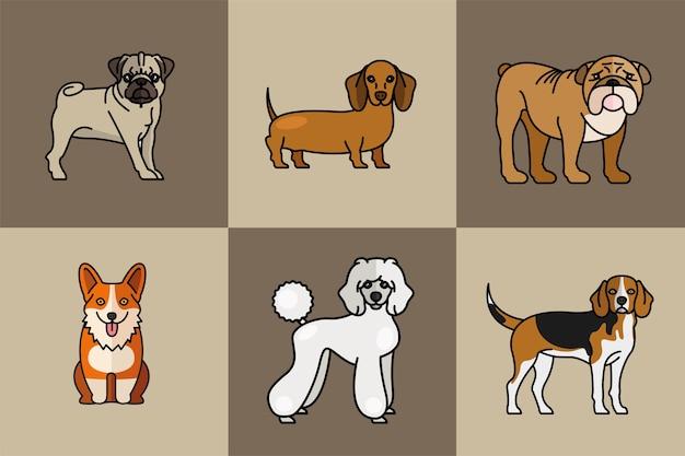 Seis cães, mascotes, animais, raça, personagens, ilustração vetorial, desenho