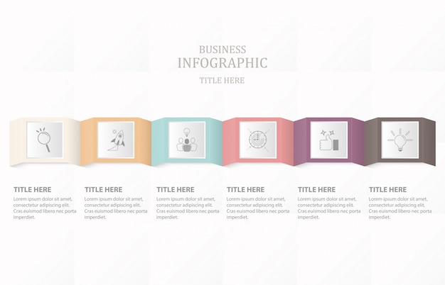 Seis caixa e ícones infográfico processo ou passo.