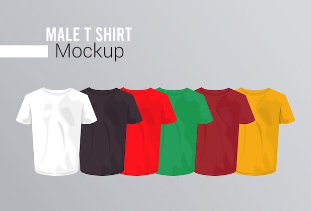 Seis camisas de maquete definir cores.