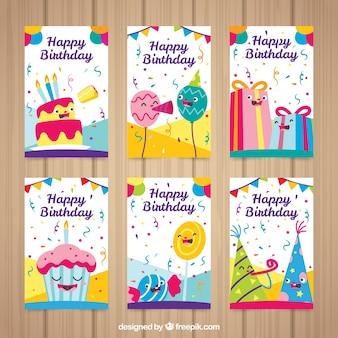 Seis cartões de aniversário coloridos em design plano