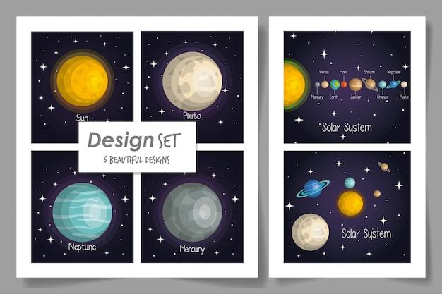Seis cartões do sistema solar