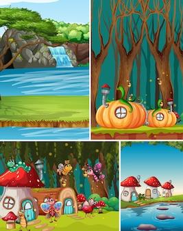 Seis cenários diferentes do mundo de fantasia com belas fadas no conto de fadas e cena de queda d'água e casas de fantasia