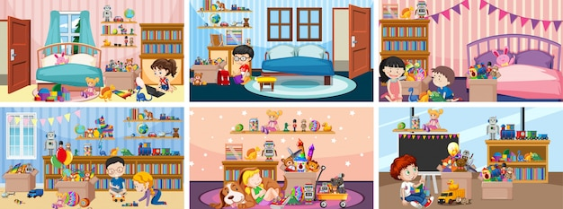 Seis cenas com crianças brincando em salas diferentes