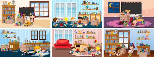 Seis cenas com crianças brincando nas ilustrações da sala