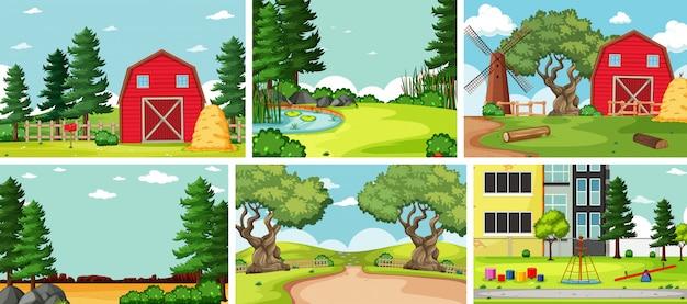 Seis cenas da natureza com diferentes locais