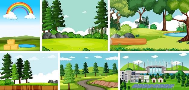 Seis cenas da natureza com locais diferentes