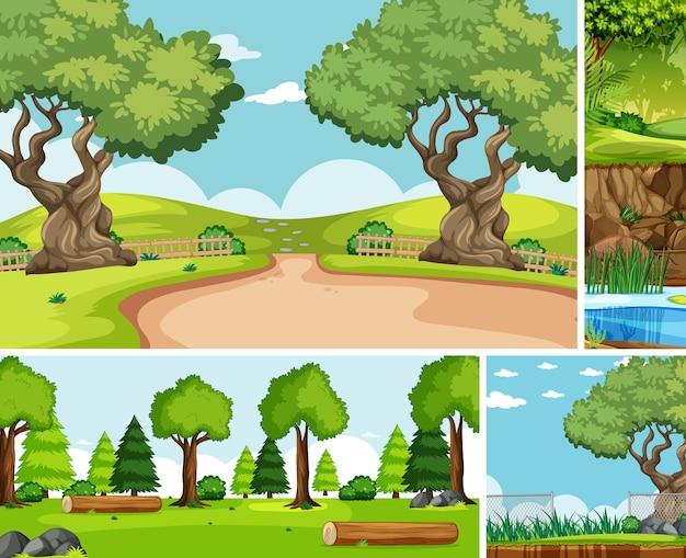 Seis cenas diferentes no estilo cartoon da natureza