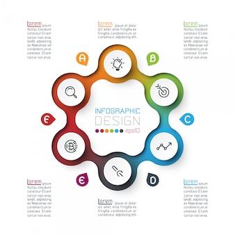 Seis círculos com infográficos de ícone de negócios
