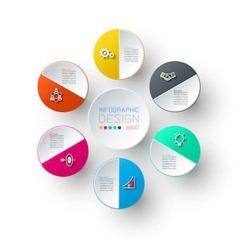 Seis círculos com infográficos de ícone de negócios.