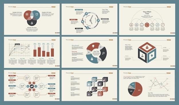 Seis conjuntos de modelos de slides de estatísticas