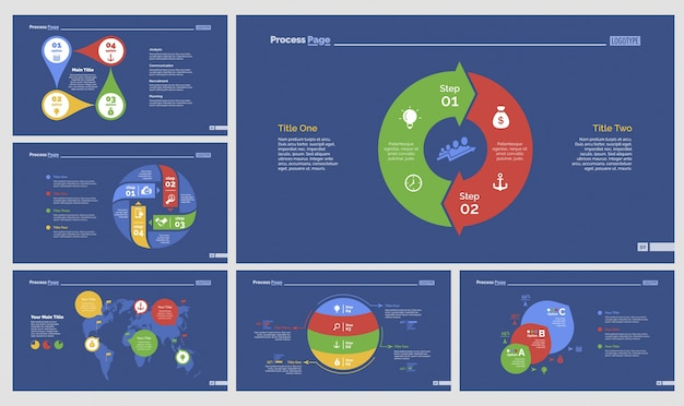 Seis conjuntos de modelos de slides logísticos