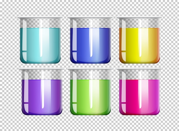 Seis copos cheios de líquido colorido