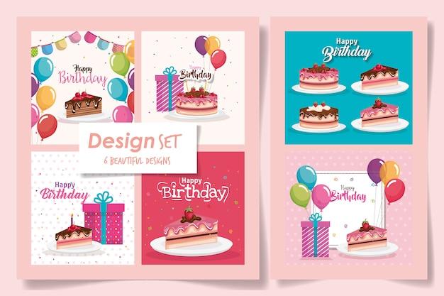 Seis das cartas feliz aniversário com comida deliciosa e decoração
