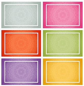 Seis desenhos com padrões de mandala