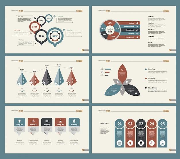 Seis diagramas de pesquisa conjunto de modelos de slides