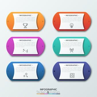 Seis elementos arredondados coloridos com duas setas nos lados, apontando em direções opostas