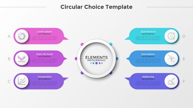 Seis elementos arredondados com símbolos lineares e ponteiros apontando para o círculo branco do papel principal no centro. conceito de 6 características ou opções. limpe o modelo de design do infográfico. ilustração vetorial.
