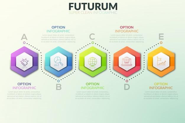 Seis elementos hexagonais separados colocados em linhas horizontais e caixas de texto próximas a eles. etapas sucessivas do conceito de desenvolvimento do projeto.
