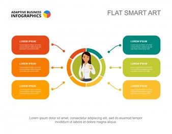Seis elementos planejam modelo de gráfico de processo para apresentação.