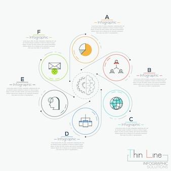 Seis elementos redondos com ícones