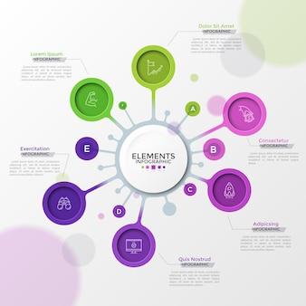 Seis elementos redondos com símbolos de linha fina dentro conectados ao círculo principal e lugar para texto. conceito de 6 etapas de desenvolvimento de negócios. modelo de design criativo infográfico. ilustração vetorial.
