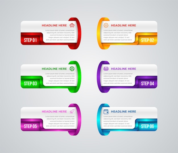 Seis elementos retangulares multicoloridos separados com números, ícones de linha fina e lugar para texto