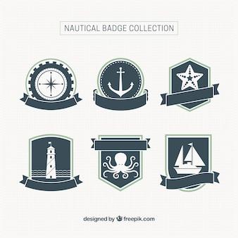Seis emblemas náuticas com fitas