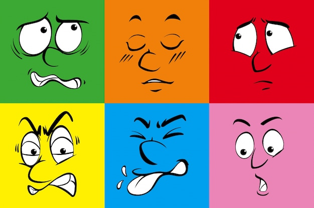 Seis emoções humanas em fundo colorido
