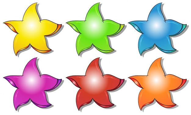 Seis estrelas coloridas