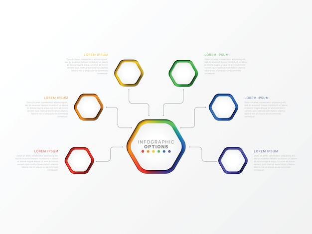 Seis etapas infográfico com elementos hexagonais.