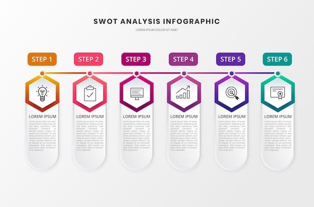 Seis etapas infográfico de negócios
