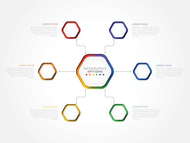 Seis etapas modelo infográfico 3d com elementos hexagonais