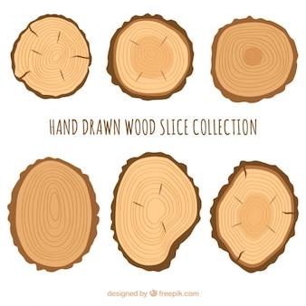 Seis fatias de madeira