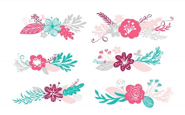 Seis flores buquê e elementos florais isolados