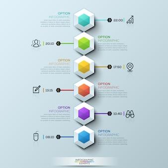 Seis hexágonos multicoloridos conectados com caixas de texto e pictogramas, modelo infográfico