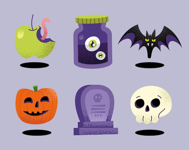 Seis ícones de celebração de halloween