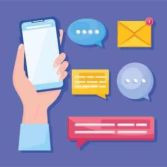 Seis ícones de comunicação de mensagens