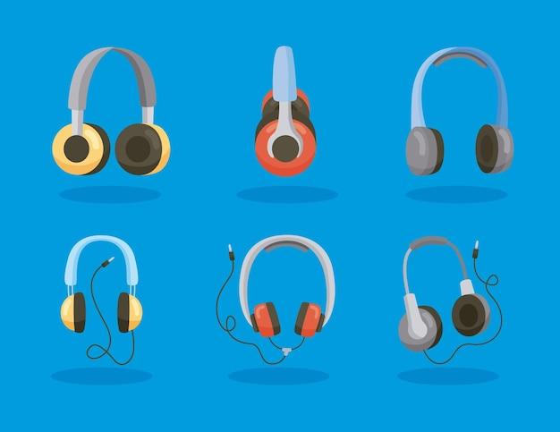 Seis ícones de dispositivos de fones de ouvido