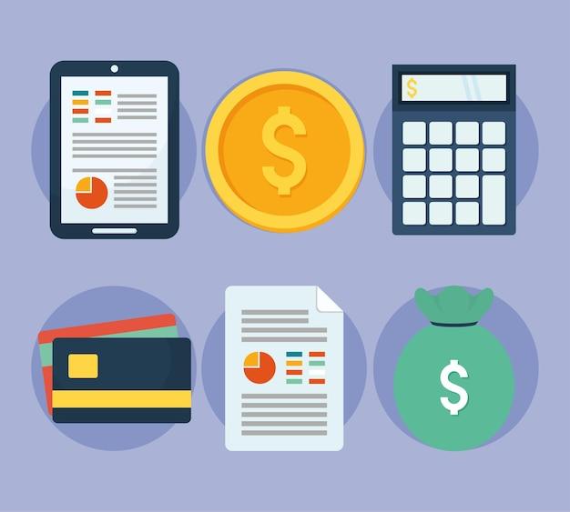 Seis ícones de finanças pessoais
