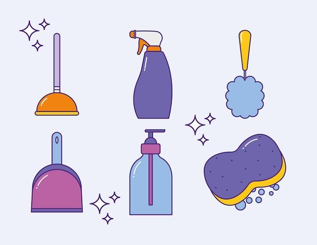 Seis ícones de lavanderia