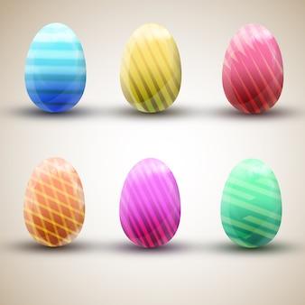 Seis ícones de ovos de páscoa felizes listrados coloridos definidos isolados na superfície de luz plana ilustração vetorial