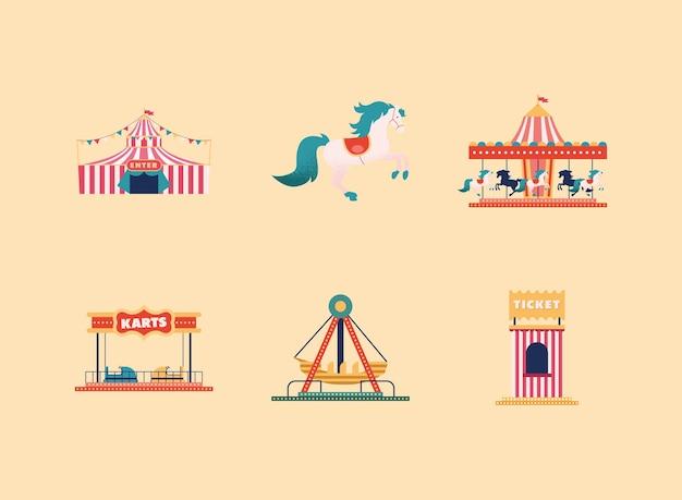 Seis ícones de parque de diversões Vetor Premium