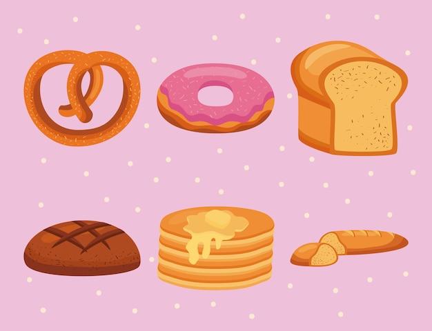 Seis ícones de pastelaria doce